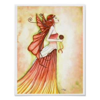 """Autumn Bride"" fairy poster print"