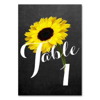 Autumn Bride Sunflower Party Number Table Cards
