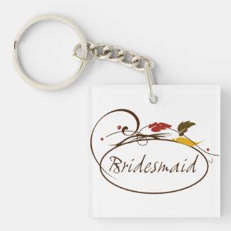 Autumn Bridesmaid Double-Sided Square Acrylic Keychain
