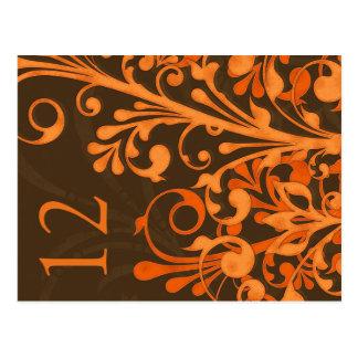 Autumn Brown Orange Floral Wedding Table Card