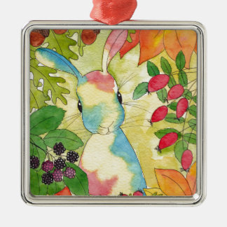 Autumn Bunny by Peppermint Art Silver-Colored Square Ornament
