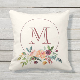 Autumn Burgundy Floral Monogram Outdoor Pillow