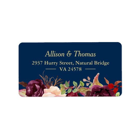 Autumn Burgundy Marsala Floral Navy Blue Wedding