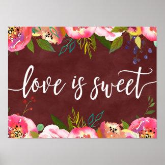 Autumn Burgundy Watercolor Wedding Love is Sweet Poster
