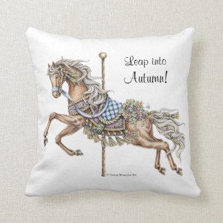 Autumn Carousel Horse Drawing Pillow
