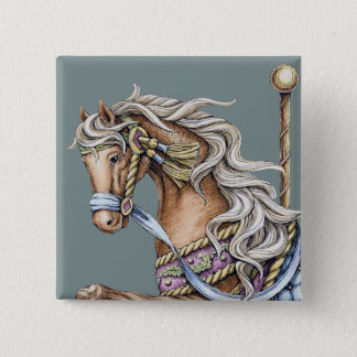 Autumn Carousel Horse Drawing Square Button