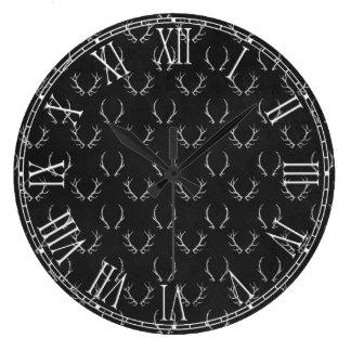 Autumn Chalkboard Antler Pattern Large Clock