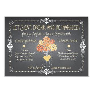 "Autumn Chalkboard Wedding Rehearsal Mason Jar 5"" X 7"" Invitation Card"