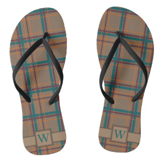 Autumn Chic Plaid Flip Flops