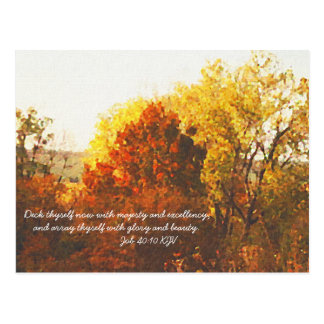 Autumn Color Trees Digital Oil with Bible Verse Postcard
