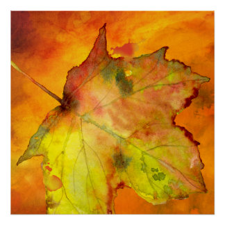 Autumn colorful leaf watercolor by Ozias. Poster