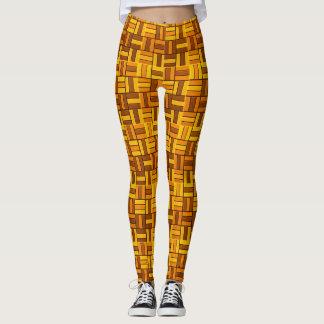 Autumn colors, ceramic-look tiled pattern leggings