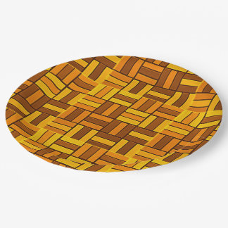 Autumn colors, ceramic-look tiled pattern paper plate