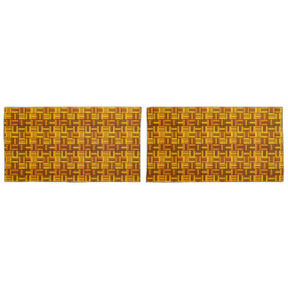 Autumn colors, ceramic-look tiled pattern pillowcase