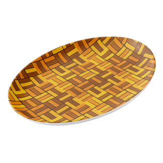 Autumn colors, ceramic-look tiled pattern porcelain serving platter