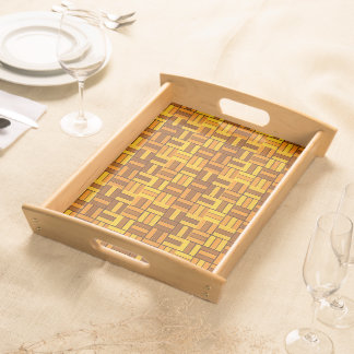 Autumn colors, ceramic-look tiled pattern serving tray