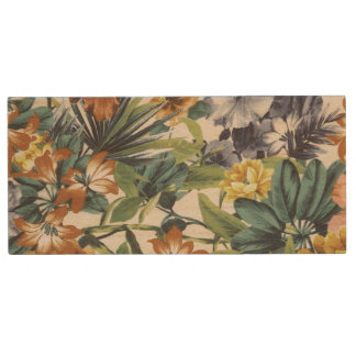 Autumn Colors Floral Wood USB 2.0 Flash Drive