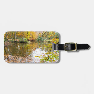 Autumn colors in forest with pond bag tag