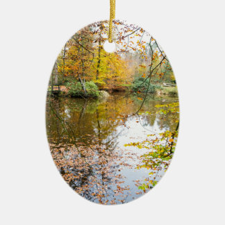 Autumn colors in forest with pond ceramic oval ornament