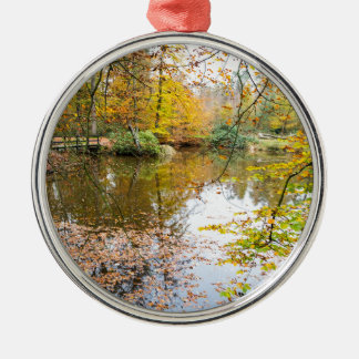 Autumn colors in forest with pond Silver-Colored round ornament