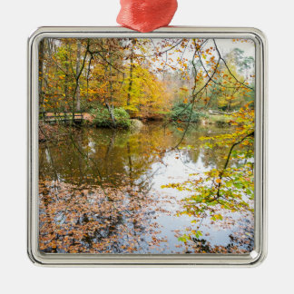 Autumn colors in forest with pond Silver-Colored square ornament