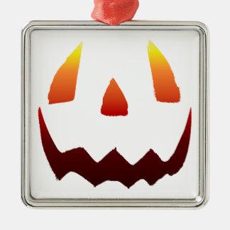 Autumn Colors Jack O' Lantern Face Square Metal Christmas Ornament