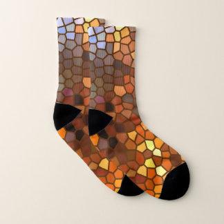 Autumn Colors Mosaic Abstract Socks 1