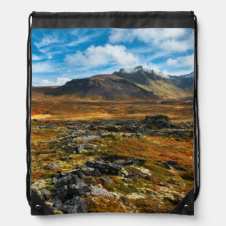 Autumn colors on the landscape drawstring backpack