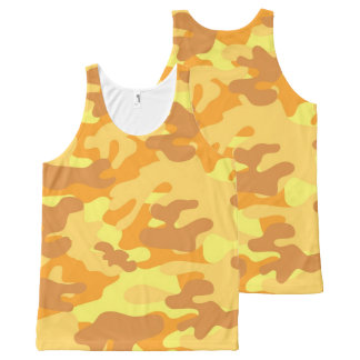 Autumn Colors Orange and Yellow Camouflage Print All-Over-Print Tank Top