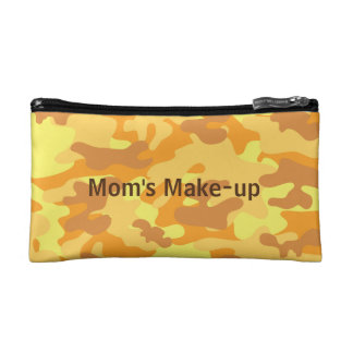Autumn Colors Orange and Yellow Camouflage Print Cosmetic Bag