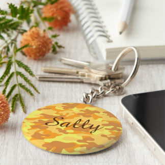 Autumn Colors Orange and Yellow Camouflage Print Keychain