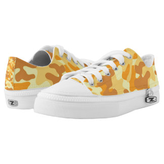 Autumn Colors Orange and Yellow Camouflage Print Low-Top Sneakers