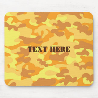 Autumn Colors Orange and Yellow Camouflage Print Mouse Pad