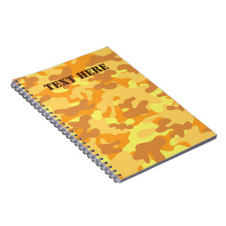 Autumn Colors Orange and Yellow Camouflage Print Notebook