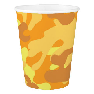 Autumn Colors Orange and Yellow Camouflage Print Paper Cup