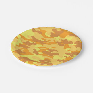 Autumn Colors Orange and Yellow Camouflage Print Paper Plate