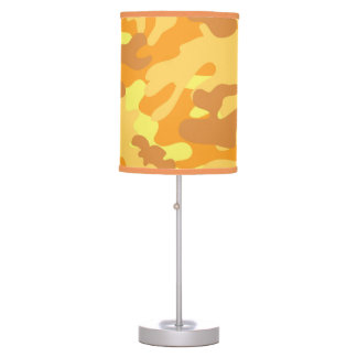 Autumn Colors Orange and Yellow Camouflage Print Table Lamp