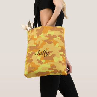 Autumn Colors Orange and Yellow Camouflage Print Tote Bag