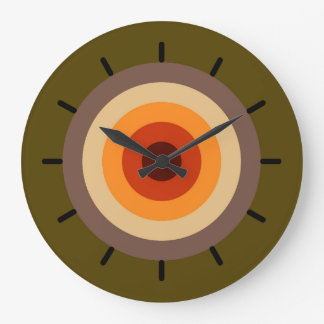 Autumn Colors - Red Orange Yellow Tan Green Brown Large Clock