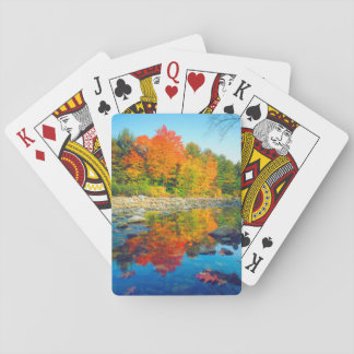 Autumn Colors reflecting in a stream in Vermont Playing Cards