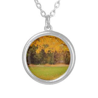 Autumn Colors Round Pendant Necklace