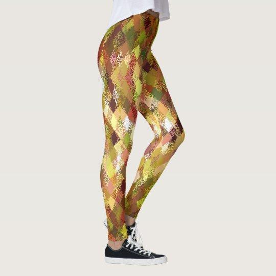Autumn Colour-Mix Harlequin Pattern Leggings
