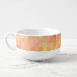 Autumn colours abstract blocks soup mug