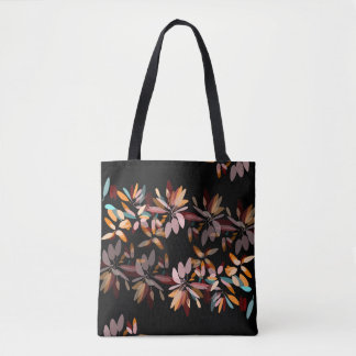 Autumn colours black background foliage print tote bag