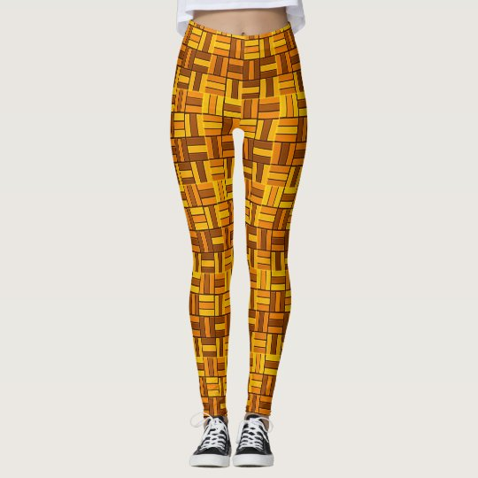 Autumn colours, ceramic-look tiled pattern leggings