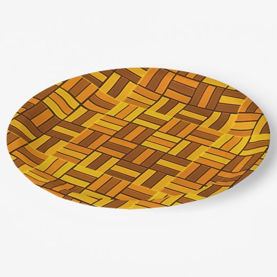 Autumn colours, ceramic-look tiled pattern paper plate
