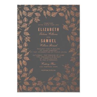 Autumn Copper Leaves Grey Wedding Invitation