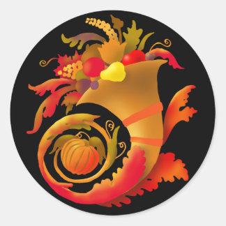 Autumn Cornucopia Classic Round Sticker