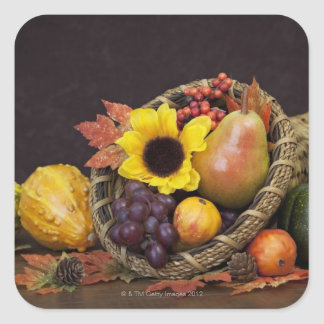 Autumn cornucopia with grapes, pear and gourds square sticker
