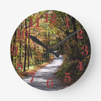 Autumn Country Road Round Clock
